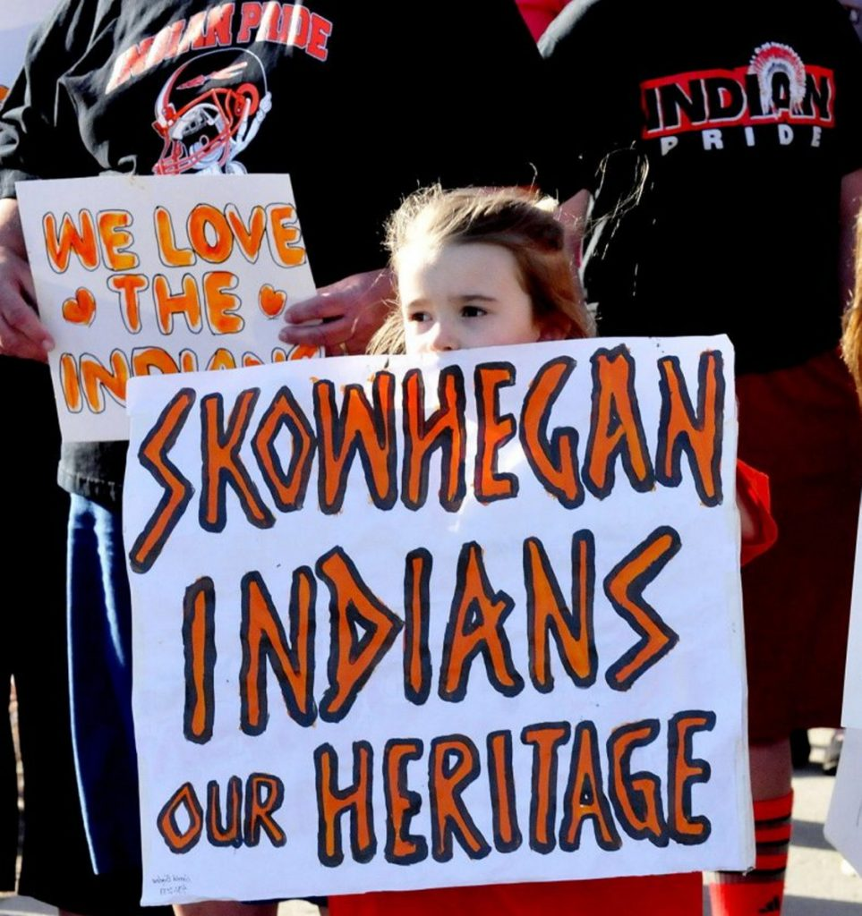 "Skylar Carter was among 40 people who turned out during a meeting on April 13, 2015, to support keeping the ""Indians"" nickname for Skowhegan school sports teams."