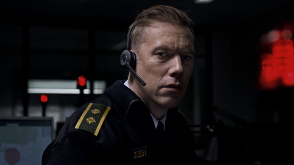"Jakob Cedergren in ""The Guilty."""