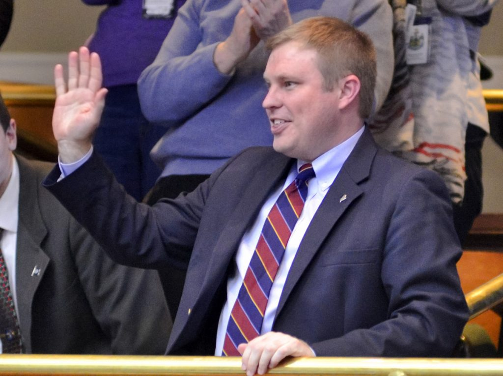 Rep. Aaron Frey, D-Bangor, acknowleges his supporters after being elected attorney general on Wednesday, but he might as well have been waving hello to most Mainers.