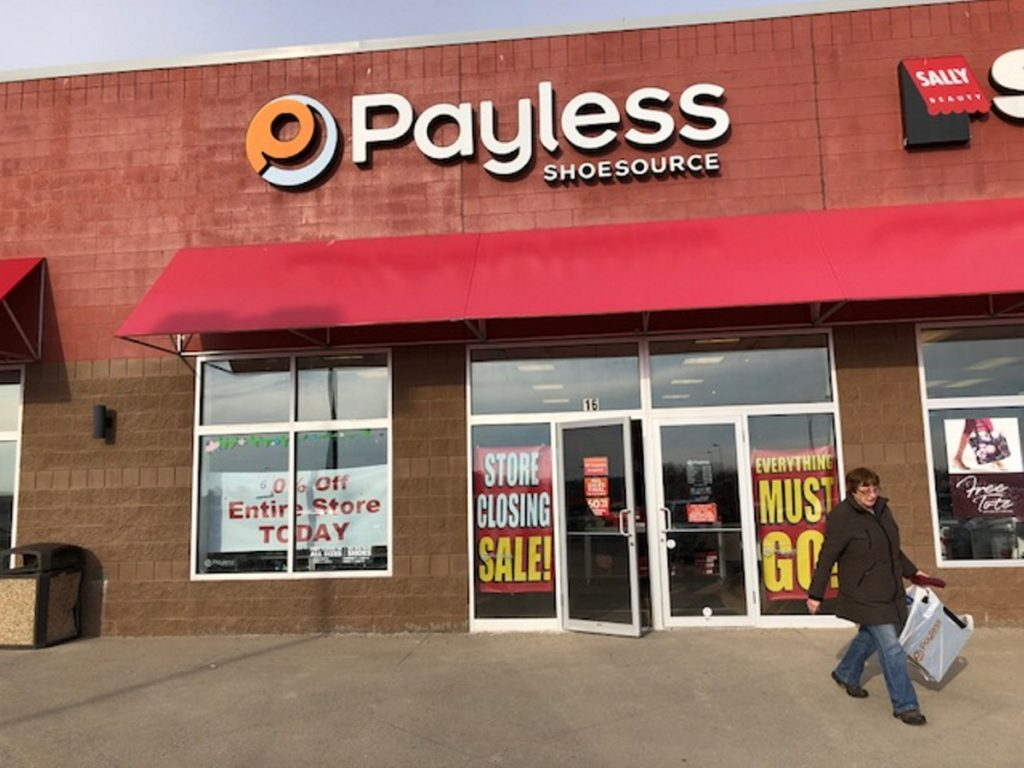 The Payless ShowSource store at Waterville Commons is advertising sales in advance of its closing on Dec. 28.