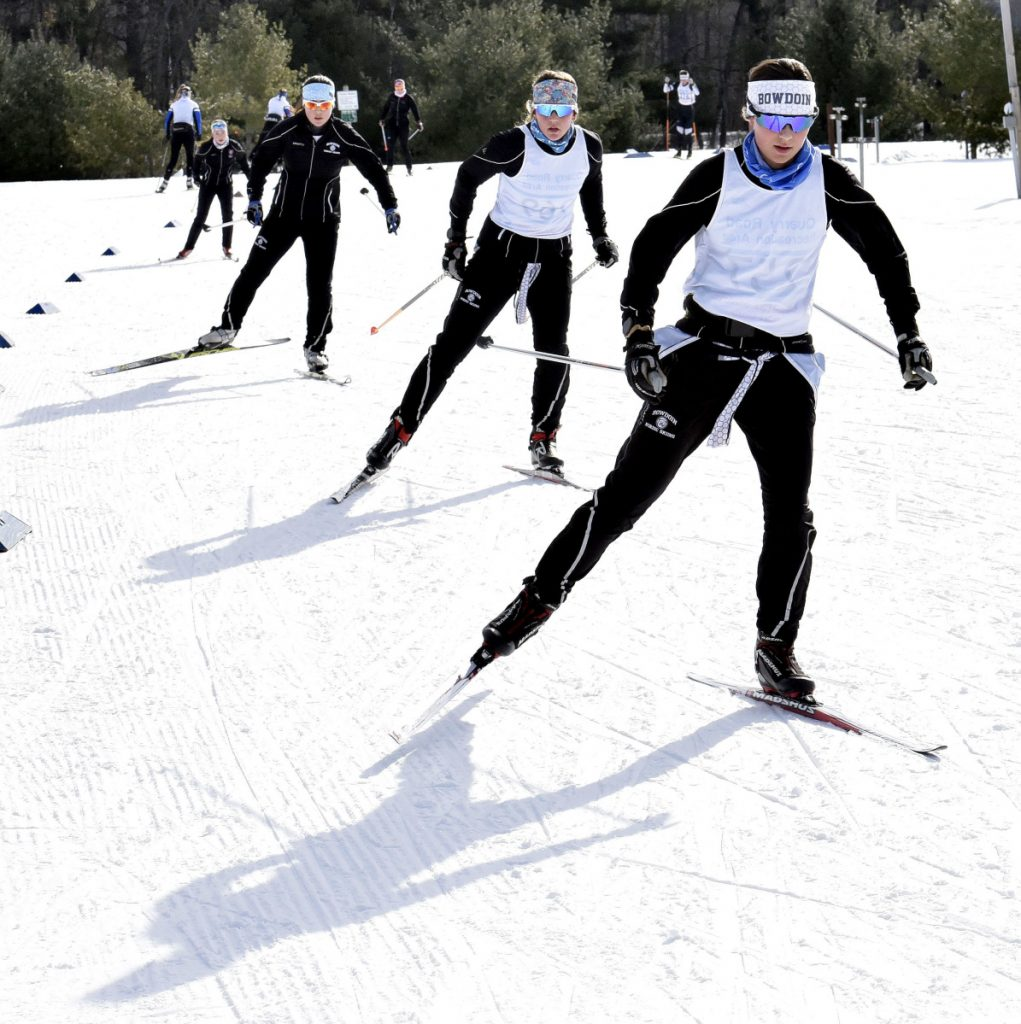 Cross-country skiers race during the Quarry Road Opener in Waterville on Sunday.