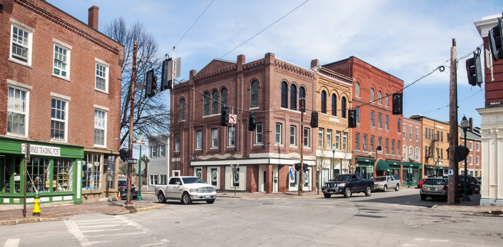 This April 28, 2017, photo shows 193 Water St. in Gardiner, at center. Gardiner is looking at switching streetlights to LED.