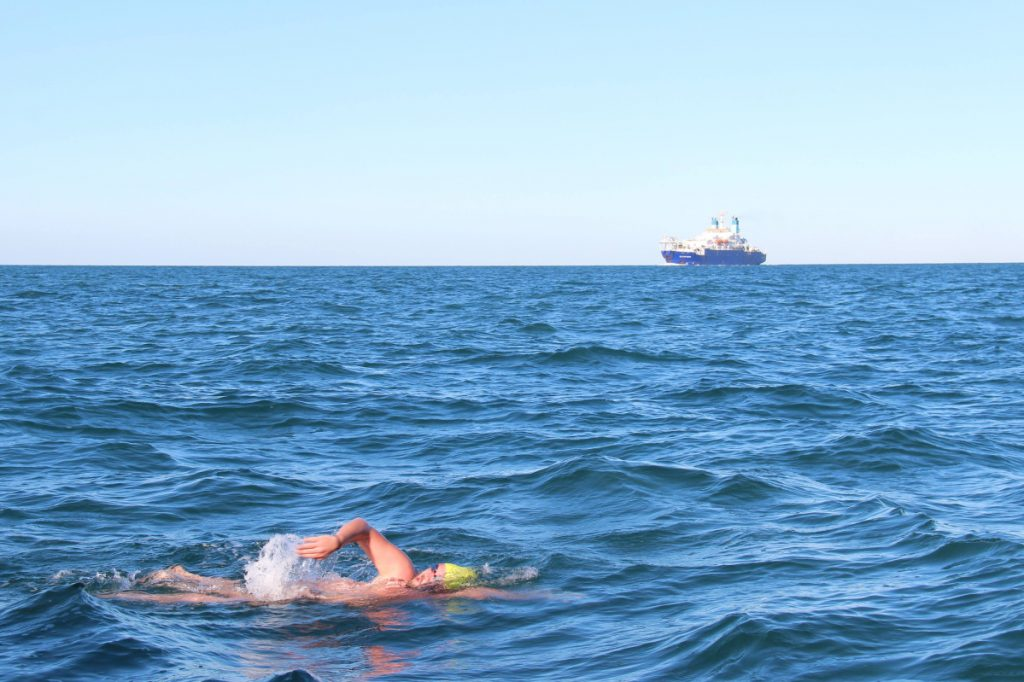 Contributed photo   Messalonskee graduate Erik Rushton swims one of his legs as part of a relay team that swam the English Channel.