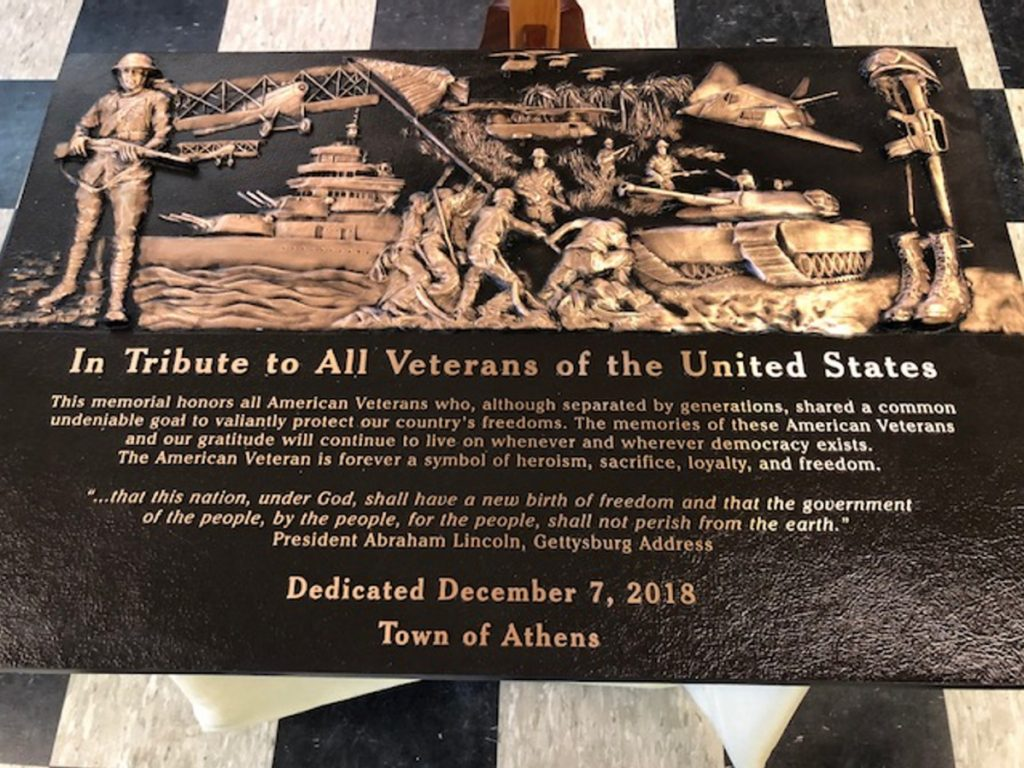 A plaque honoring military service veterans was unveiled recently at the Athens American Legion Post 192. It will be mounted at the Athens Fairgrounds in 2019.