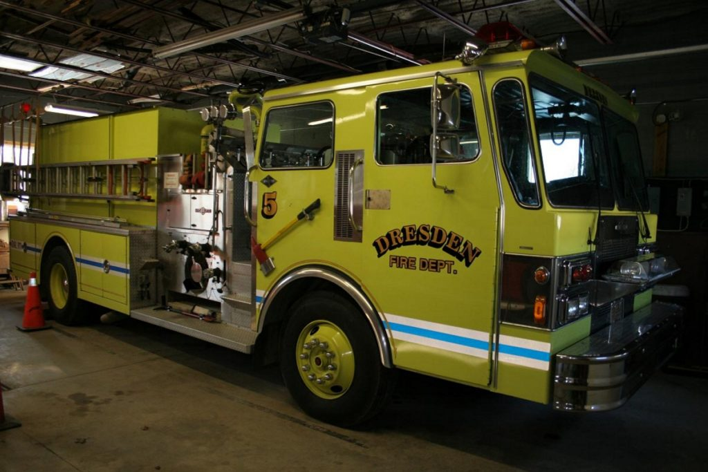 Engine 5, a 1985 Spartan pumper truck, is being traded in by the town of Dresden as part of the process of acquiring a 1994 Ferrera ladder truck.