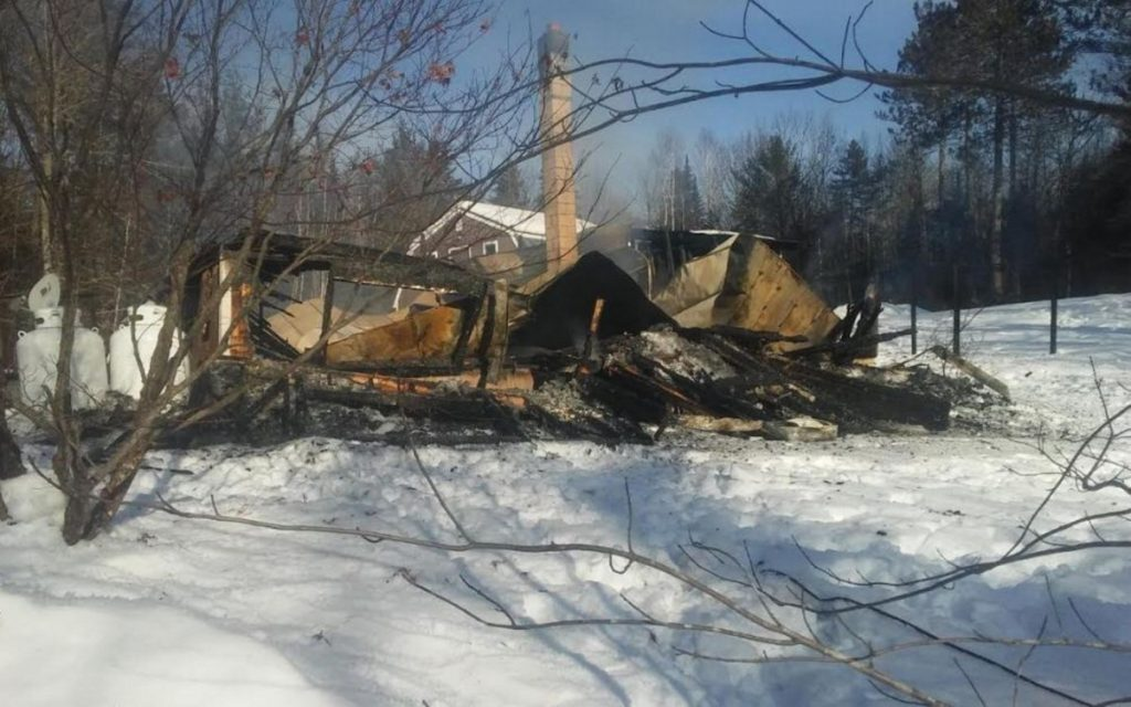 A fire destroyed a house early Tuesday on Toothaker Pond Road in Phillips. Smoke detectors alerted residents to the fire and they were able to get out with their pets, Phillips Deputy Fire Chief Jim Gould said.