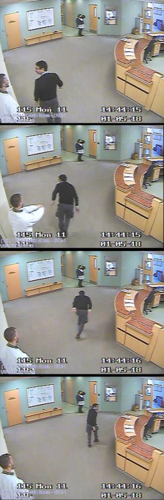 "These still shots from a footage from a video surveillance system at Riverview Psychiatric Center show the sequence in which Ahmad Khansari Nejad was shoved in the back Jan. 5 by ""Patient W"" on the hospital's Lower Saco forensic unit. Several clips from the video were played in court."