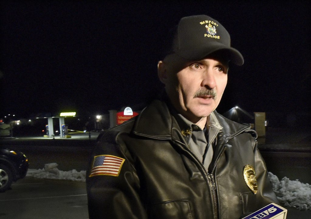 Newport police chief Leonard Macdaid, across the street from Bear's One Stop in Newport, headed the investigation into a shooting early Wednesday evening.