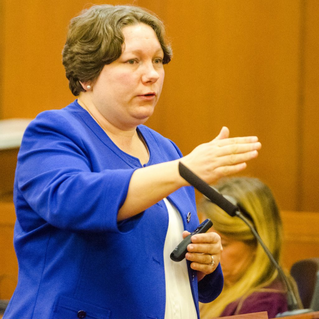 Assistant District Attorney Frayla Tarpinian talks to the jury Wednesday during opening statements at Andrew Bilodeau's manslaughter trial at the Capital Judicial Center in Augusta.