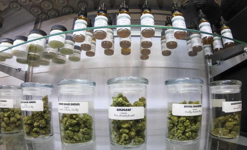 Marijuana buds and other products are in the display case Thursday at The Cannabis Healing Center in Hallowell.