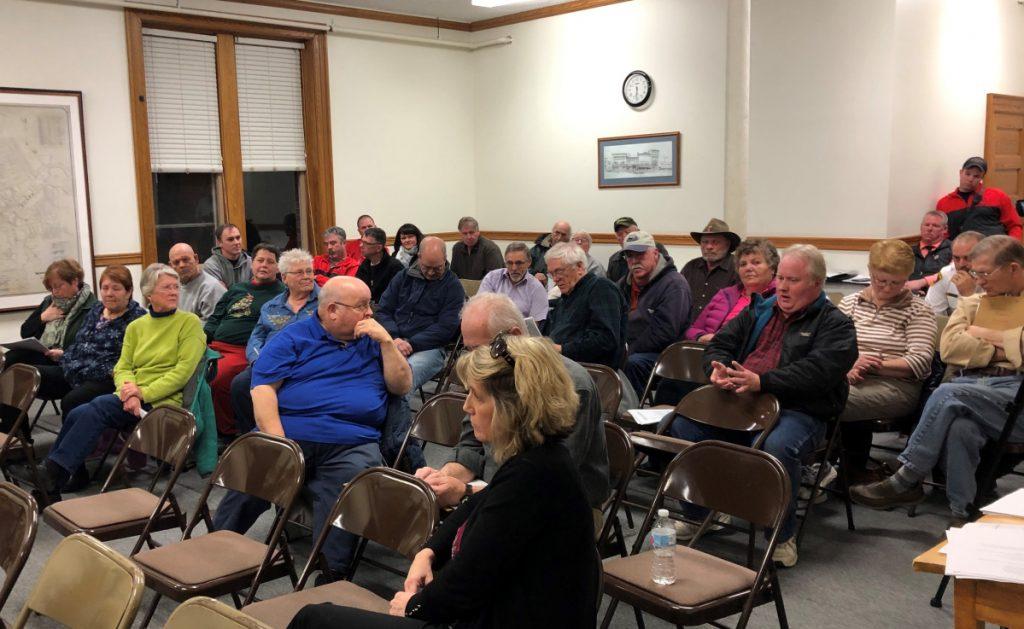 Skowhegan residents filled the Council Room at the town's municipal building on Wednesday night to voice opinions on the proposed $8.5 million public safety building.