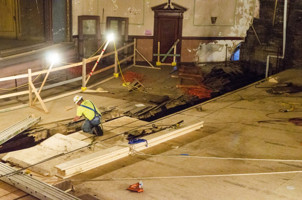 This photo, taken May 29, shows floor repairs underway at the Colonial Theater in Augusta.
