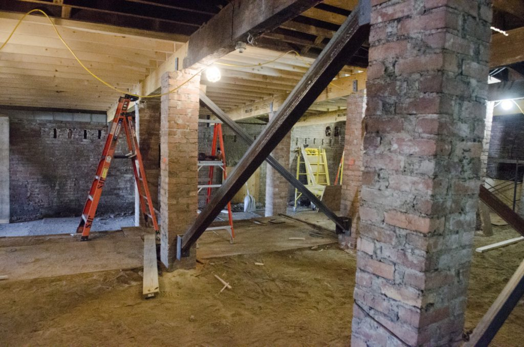 This photo, taken May 29, shows supports under the floor repairs underway at Colonial Theater in Augusta.