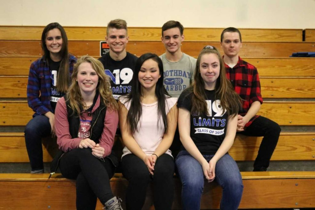 Seniors of the Trimester, front row from left, are Kassidy Wade, Ellie Hodgkin, and Amber Holmes. Back row from left arePeyton Houghton, Jack Jowett, Hagen Wallace and Cameron Falla.