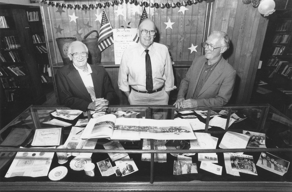 From left are John Woodside, Arthur Moore Jr. and Dick Bachelder, pictured in 1992.