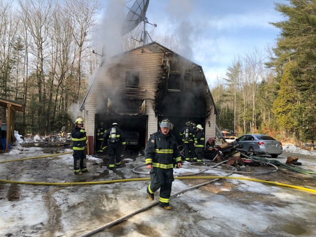Fire crews from Norridgewock and Skowhegan battled a smoky fire in a garage Monday morning on Airport Road in Norridgewock. Fifty years worth of tools may have been lost in the blaze.