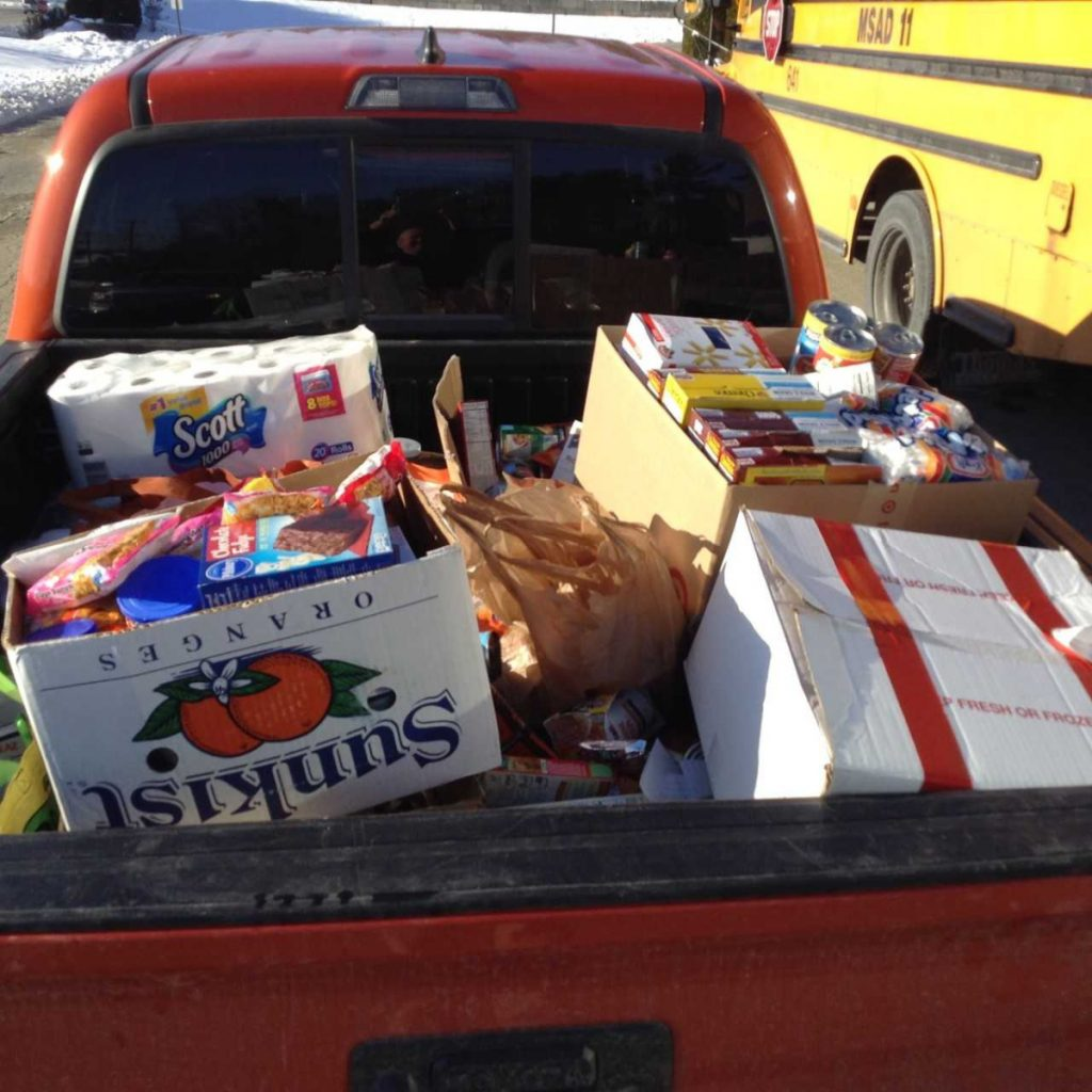 More food and miscellaneous donations collected by Gardiner Regional Middle School students to be donated to the Chrysalis Place Food Pantry in Gardiner.