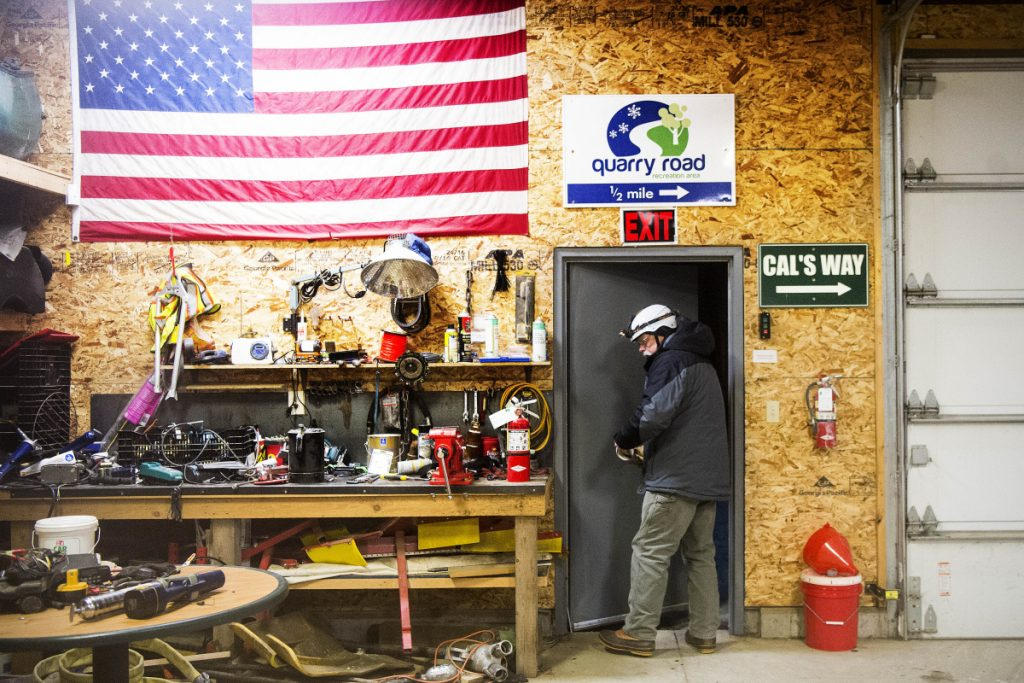 WATERVILLE, ME - DECEMBER 30, 2018   Wally Donovan leaves the Harold Alfond Snowmaking Center to arrange snow guns along the nordic trails at Quarry Road Trails in reparation of making snow throughout the night in Waterville on Sunday, Dec. 30, 2018. (Morning Sentinel photo by Michael G. Seamans/Staff Photographer)