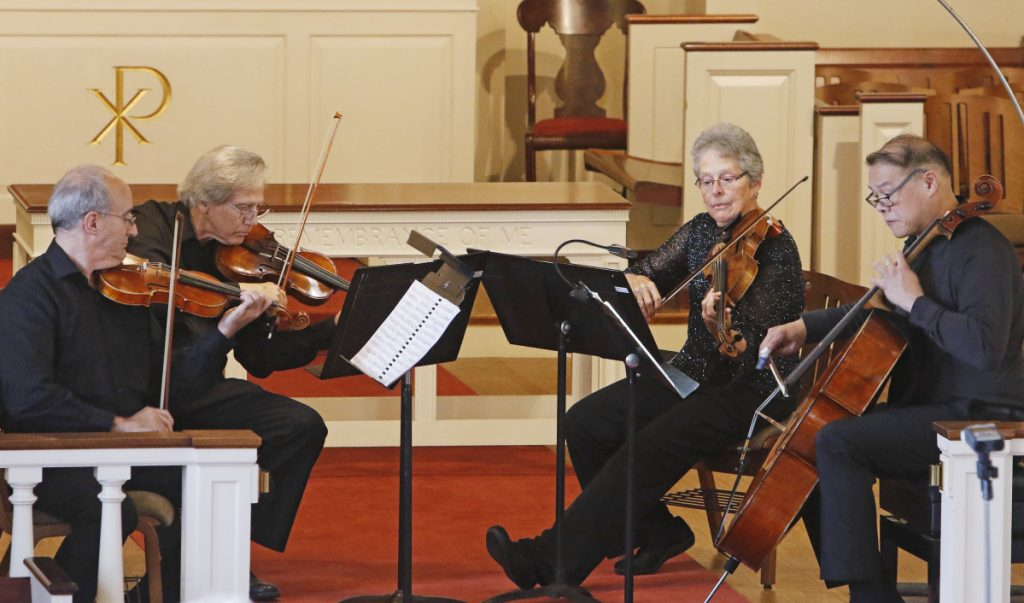The Portland String Quartet performs at Woodfords Congregational Church in Portland in September.
