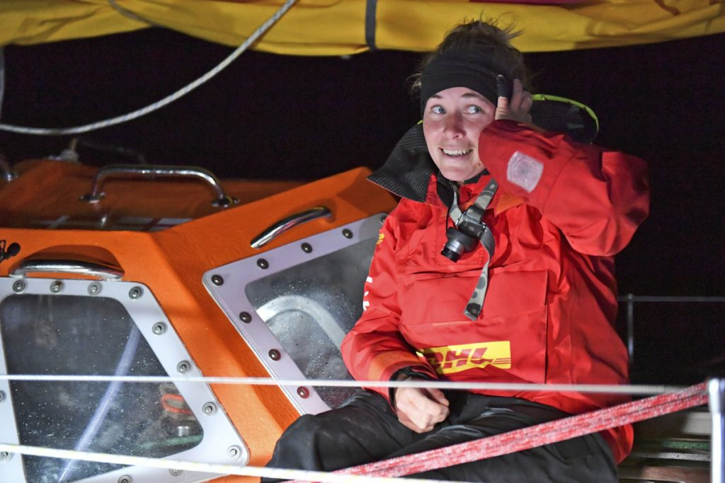 British yachtswoman Susie Goodall sailing her Rustler 36 yacht DHL STARLIGHT on arrival at Hobart, Australia, Oct. 30, 2018, arriving in 4th place in the 2018 Golden Globe Race.  British woman Goodall sailing solo in the Golden Globe Race round-the-world has lost her mast and was knocked unconscious in a vicious storm, and Thursday Dec. 6, 2018, rescuers are trying to reach her in the Southern Ocean, 2,000 miles west of Cape Horn near the southern tip of South America. (AP)