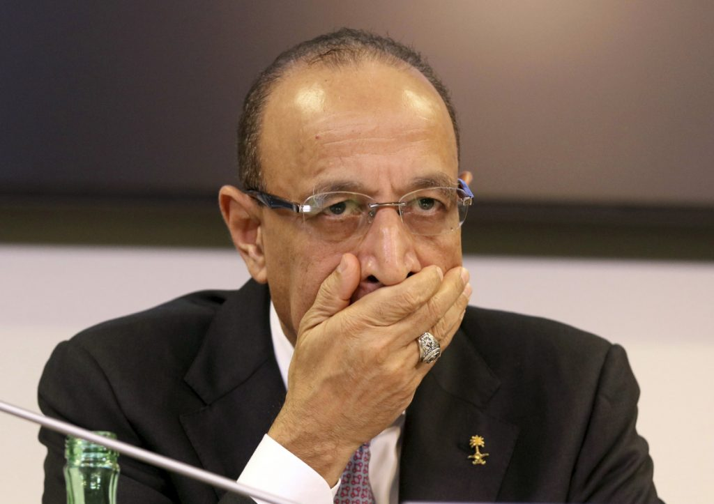 Khalid Al-Falih, minister of Energy, Industry and Mineral Resources of Saudi Arabia, attends a news conference after a meeting Friday in Vienna, Austria, at which OPEC and non-OPEC members agreed to cut global oil producation.