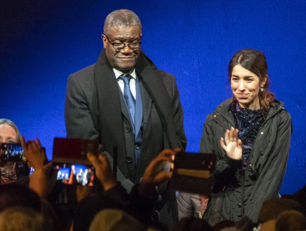 Dr. Denis Mukwege and Nadia Murad, Nobel Peace Prize winners for their efforts to end the use of sexual violence as a weapon of war, arrive at the Nobel outdoor concert in Oslo, Norway, on Sunday.