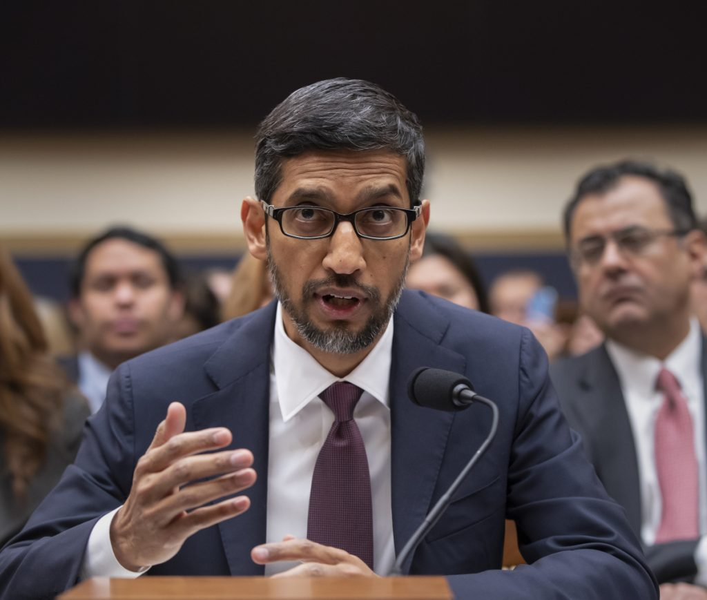 Google CEO Sundar Pichai appears Tuesday before the House Judiciary Committee on Capitol Hill to be questioned about the internet giant's privacy security and data collection practices.