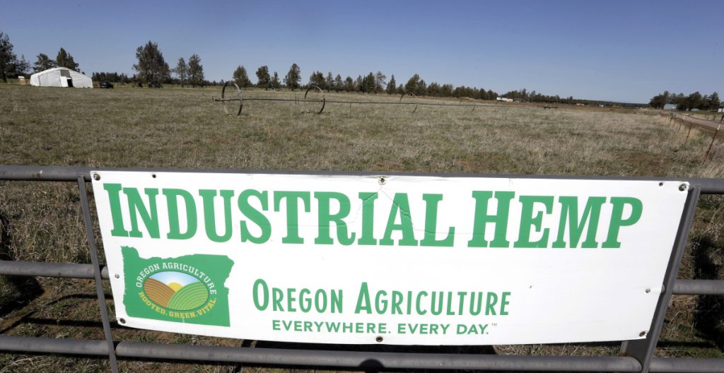 Big Top Farms near Sisters, Ore., advertises its hemp crop. President Trump is expected to sign a farm bill declassifying it as a federally controlled substance.