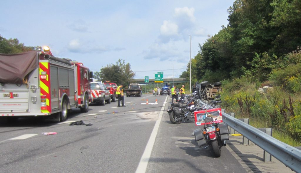 State police investigate the crash that killed motorcyclists Jamie Gross, 58, of Belmont and Aaron White-Sevigny, 25, of Windsor on Interstate 95 in Augusta in 2017. The two were riding in the annual United Bikers Toy Run from Augusta to Windsor Fairgrounds.