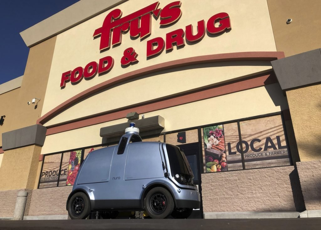 The Kroger chain plans to use driverless vehicles like this one, which is about half the width of a Toyota Corolla, to deliver groceries in Scottsdale, Ariz.