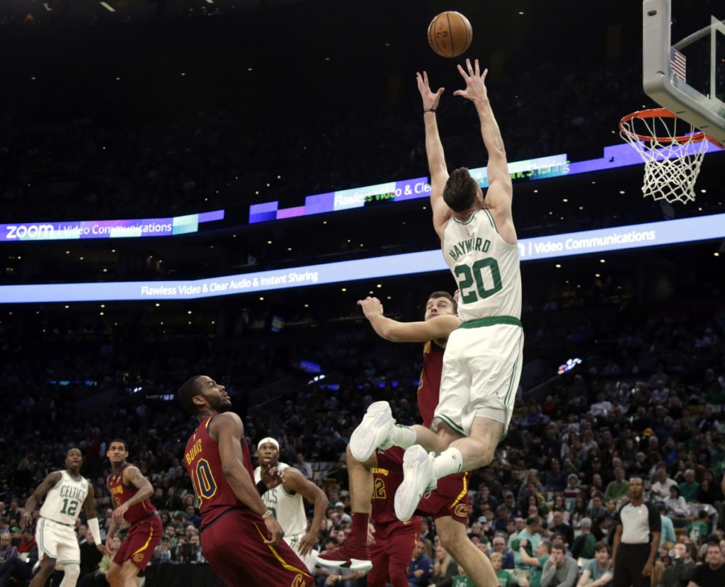 Celtics forward Gordon Hayward goes up for an unsuccessful alley-oop during a game against Cleveland on Nov. 30 in Boston. Hayward has shown flashes of his pre-injury form, but it's a long recovery process.