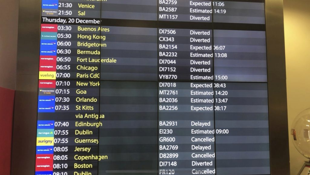 The arrivals board at Gatwick Airport showing cancelled, diverted and delayed flights as the airport remains closed with incoming flights delayed or diverted to other airports.