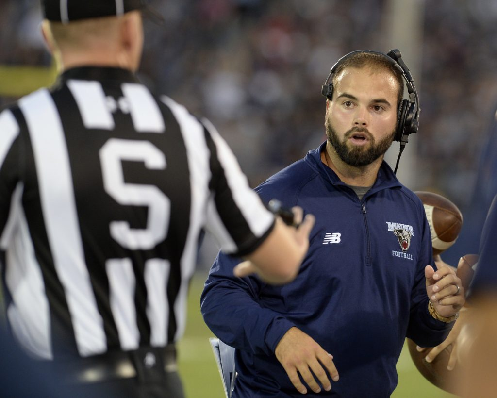 Joe Harasymiak reacts to an official during a UMaine football game against Connecticut in 2016. Brought aboard in 2011, he was hired to replace Coach Jack Cosgrove in November 2015.