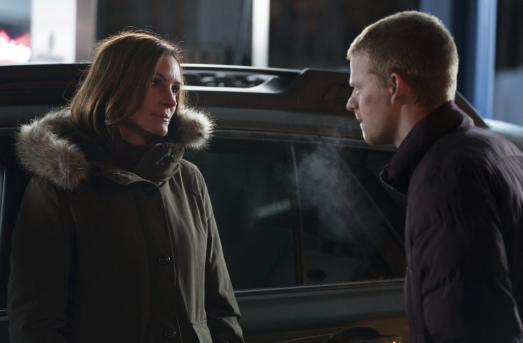 """Roberts with Lucas Hedges in a scene from """"Ben Is Back."""""""