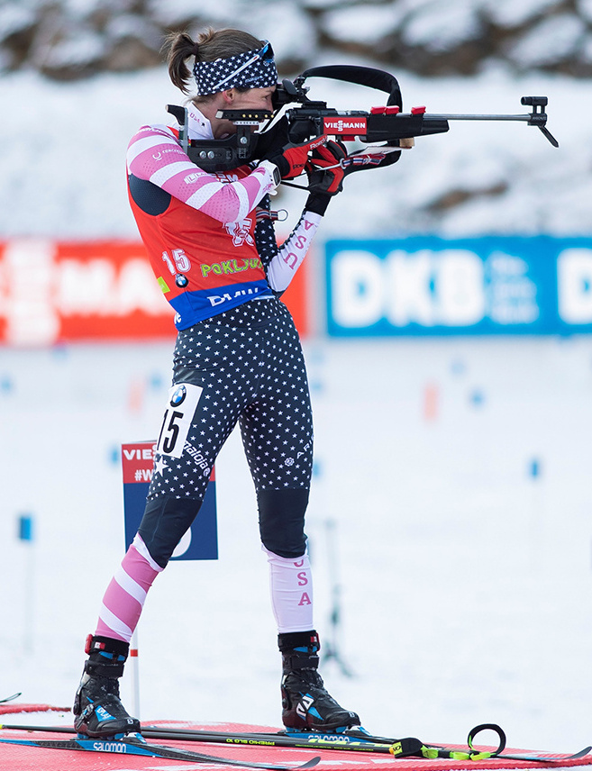 Clare Egan of Cape Elizabeth is on target  to remain one of the top  competitors on the U.S. biathlon team this winter.