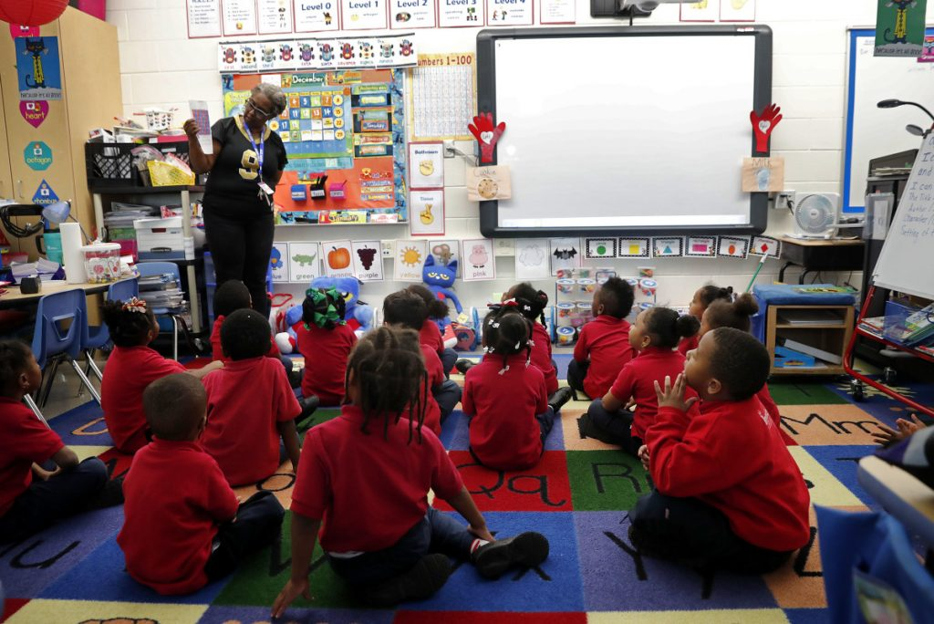 Michelle Garnett teaches a pre-kindergarten class at Alice M. Harte Charter School in New Orleans. Charter schools, which are publicly funded and privately operated, are often located in urban areas with large back populations, intended as alternatives to struggling city schools.