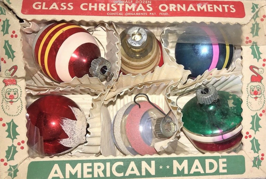 This box of ornaments made by Paragon Glass Works in the 1960s might sell for as much as $50 today.