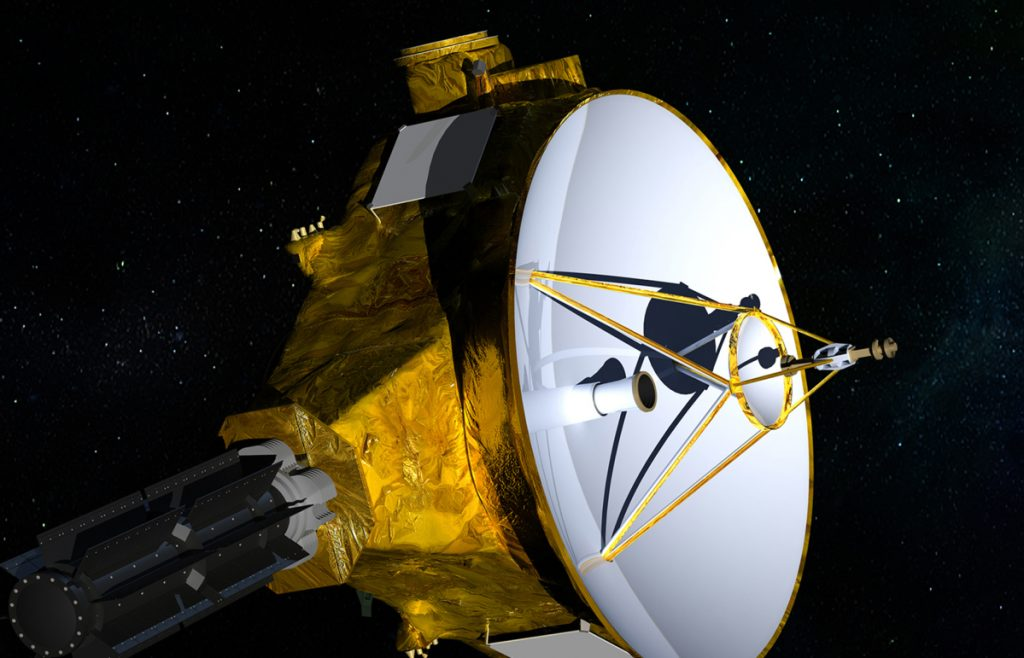 NASA/JHUAPL/SwRI via AP An illustration provided by NASA shows the New Horizons spacecraft, left. After a visit to Pluto, right, New Horizons heads for faraway Ultima Thule.