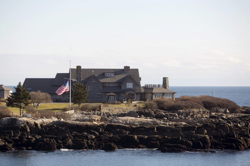 A flag at half-staff honoring President George H.W. Bush at Walker's Point in Kennebunkport the morning after his death at 94.