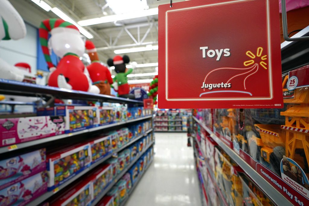 Toys sit on the shelves at a Walmart Supercenter in Houston in November. Pediatricians say the best toys for young children are simple, old-fashioned toys like blocks and puzzles rather than costly electronic games or the latest high-tech gadgets.
