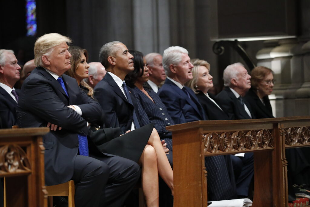 From left, President Trump, first lady Melania Trump, former President Barack Obama, former first lady Michelle Obama, former President Bill Clinton, former Secretary of State Hillary Clinton, and former President Jimmy Carter and former first lady Rosalynn Carter listen as former President George W. Bush speaks during Wednesday's state funeral at the National Cathedral in Washington.