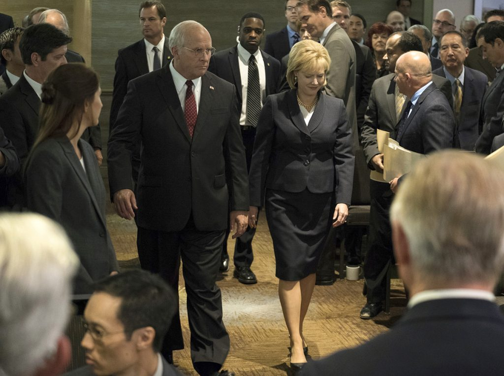 "This image released by Annapurna Pictures shows Christian Bale as Dick Cheney, left, and Amy Adams as Lynne Cheney in a scene from ""Vice."" On Thursday, Dec. 6, 2018, the film was nominated for a Golden Globe award for best motion picture musical or comedy. The 76th Golden Globe Awards will be held on Sunday, Jan. 6."