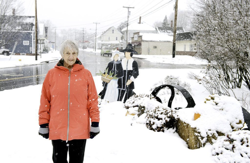 Lisbon's Thanksgiving tableau at the corner of Route 196 and School Street originally included a painted metal cutout depicting a 3-foot-tall turkey where Faye Brown stands in this Sun Journal file photo from November where she hoped to find the turkey that went missing from the Thanksgiving display in the center of Lisbon Falls.