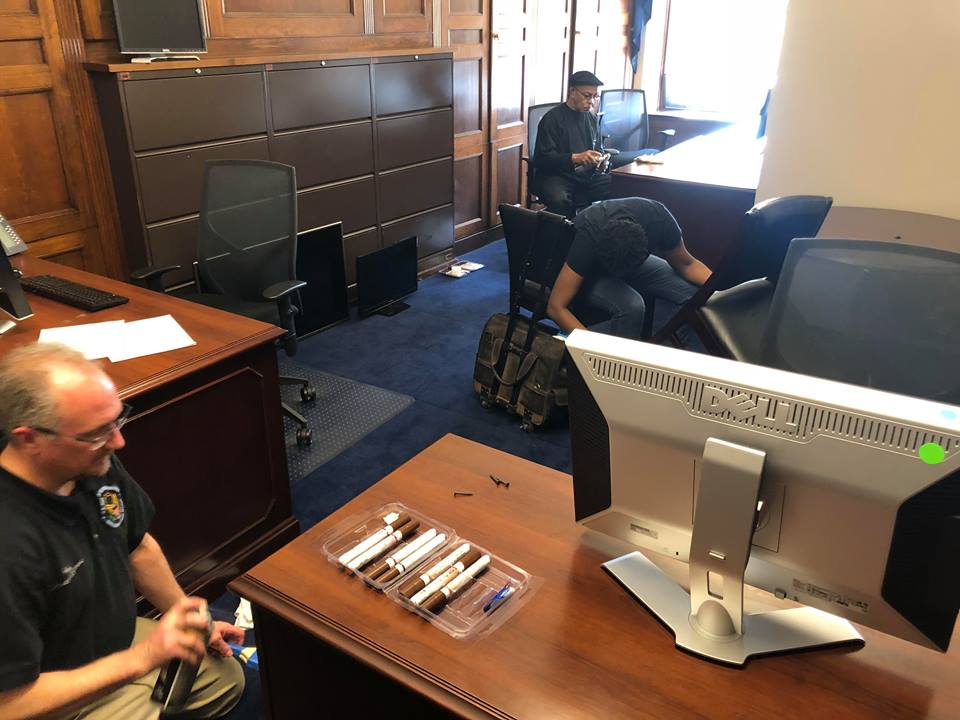 Workers preparing the lobby area for Maine Democrat Jared Golden's congressional office in the Longworth House Office Building on Capitol Hill in Washington.