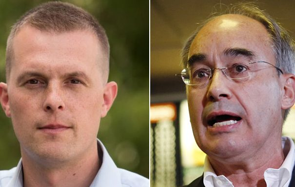 Rep.-elect Jared Golden, left, and Rep. Bruce Poliquin