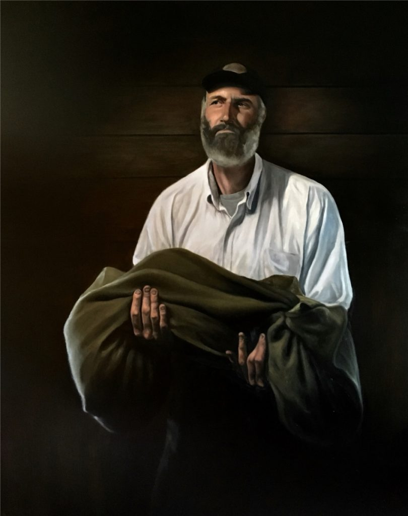 """Burden,"" oil paining by Maxwell Nolin."