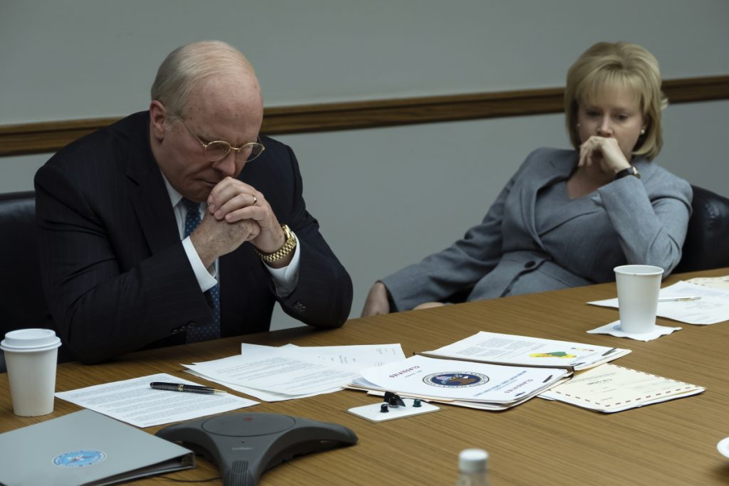 "Christian Bale as Dick Cheney and Amy Adams as Lynne Cheney in a scene from ""Vice."""
