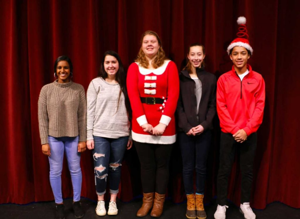 Messalonskee High School December Students of the Month from left are Dharani Singaram, Morgan Knowles, Toni Holz, Logan Alexander and Reese Gardner.