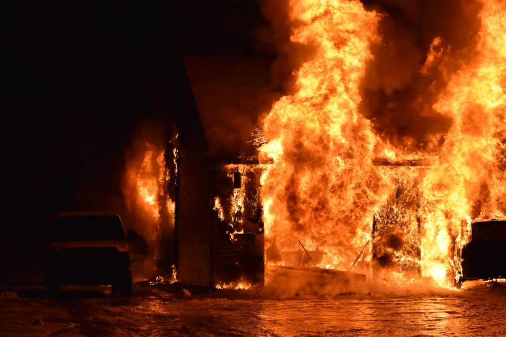 A garage at 107 Benson Road in West Gardiner was fully engulfed in flames when firefighters arrived shortly after 11 p.m. Wednesday.