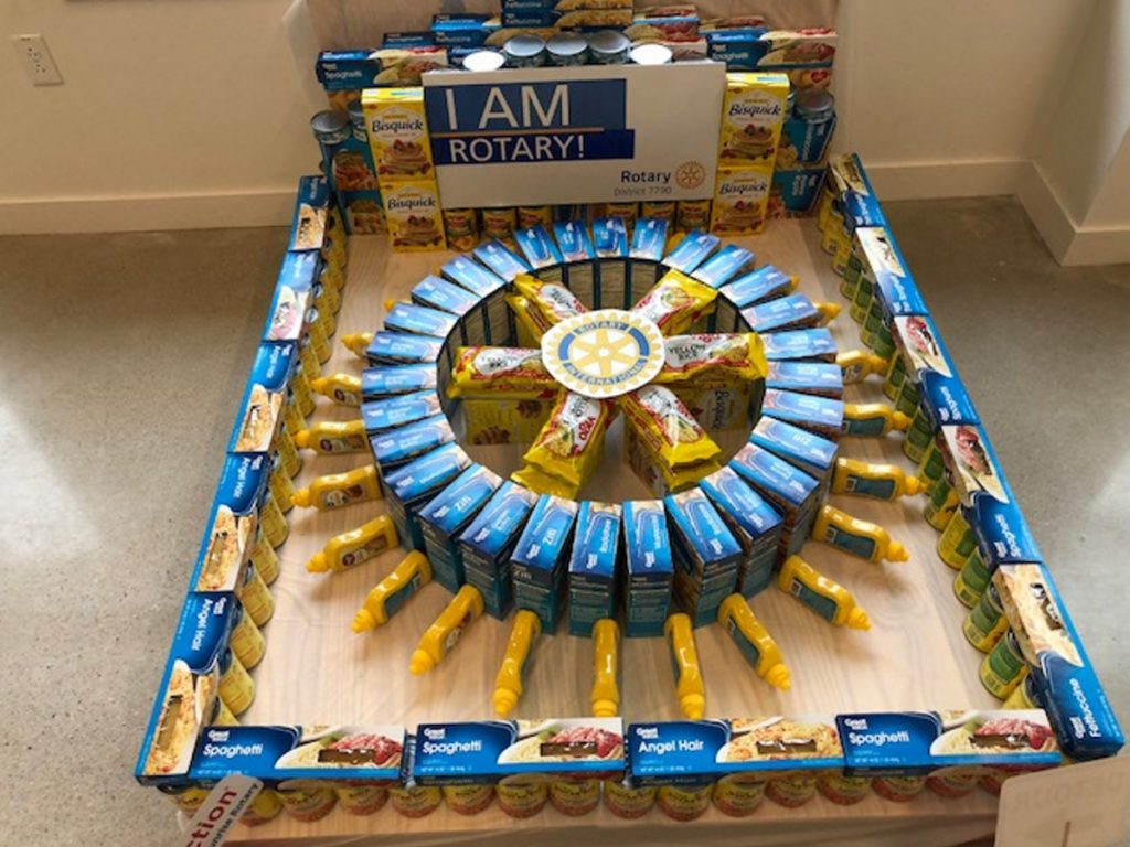 This Waterville Sunrise Rotary Club sculpture won the Most On Brand award for best representing the brand of its organization Saturday during a statewide Day of Service event in the Chace Community Forum in downtown Waterville.